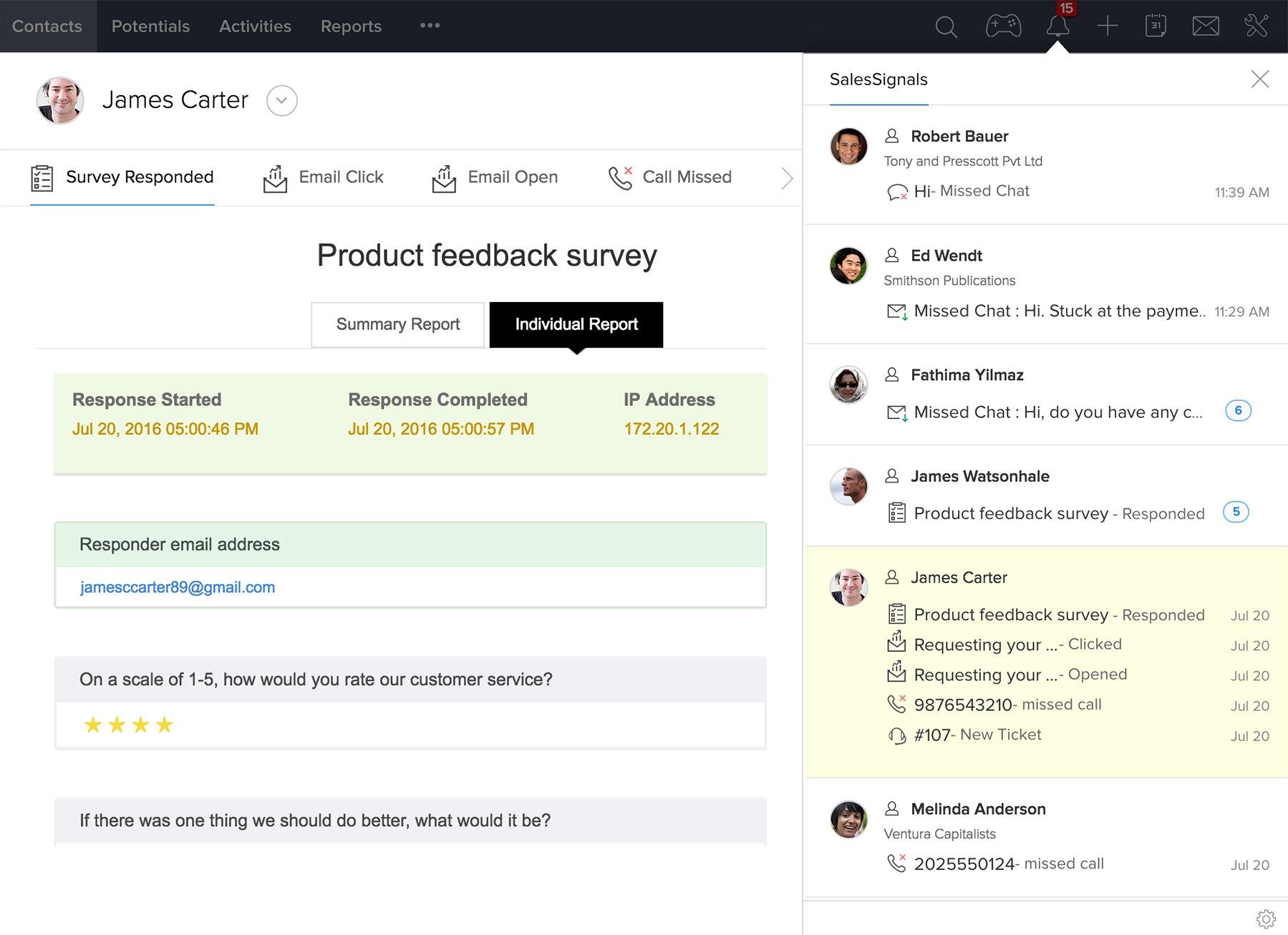 Zoho CRM Demo - SalesSignals