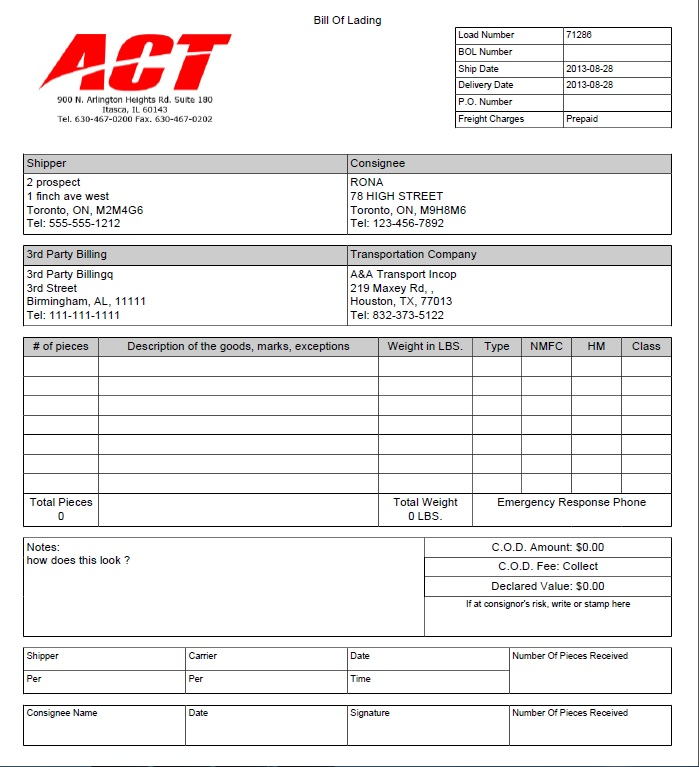 trucking rate confirmation template