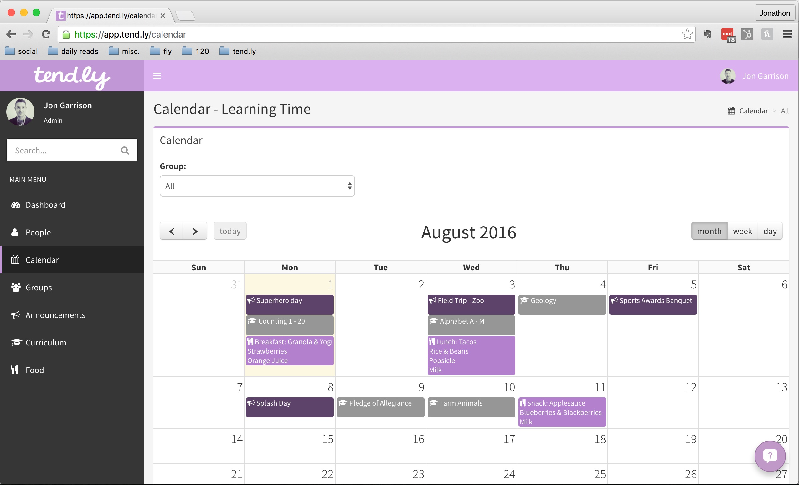 tend.ly Demo - Calendar