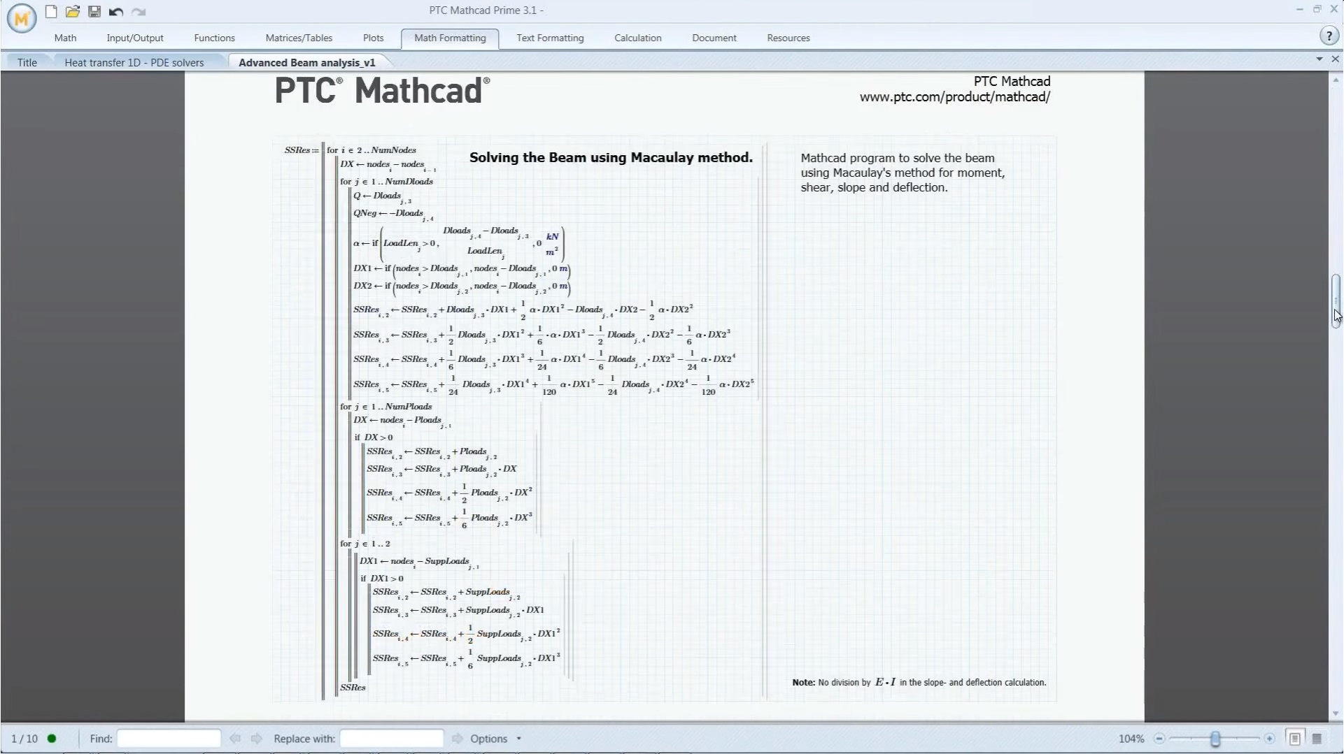 PTC Mathcad Demo - Solve the Beam