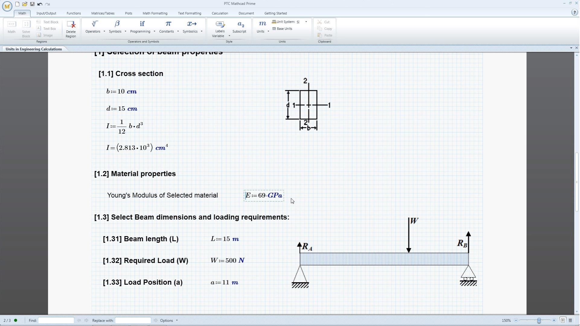 PTC Mathcad Demo - Beam Cross Section