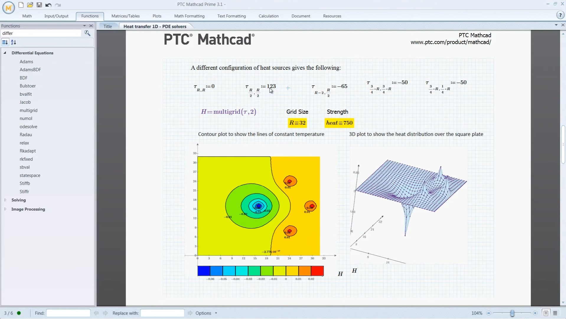 PTC Mathcad Demo - Mathcad heat source example