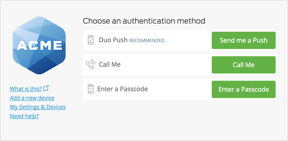 Duo Security Demo - Self-Service Portal