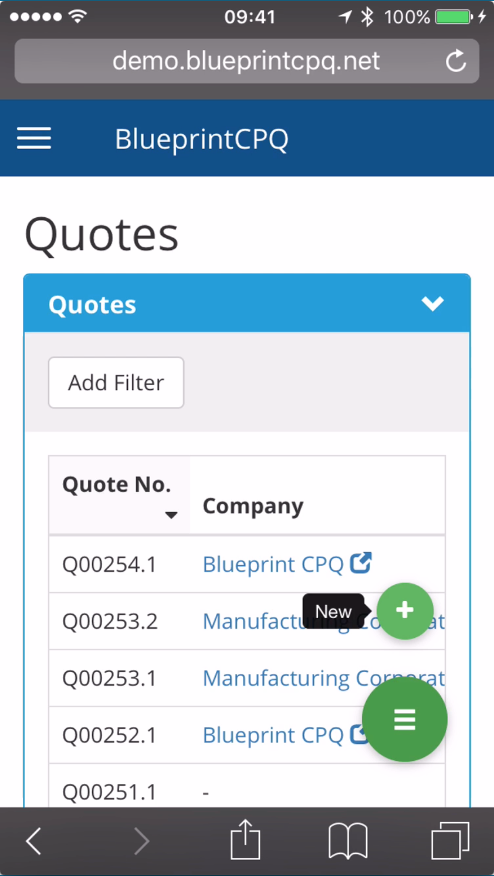 BlueprintCPQ Demo - Quote screen on a mobile