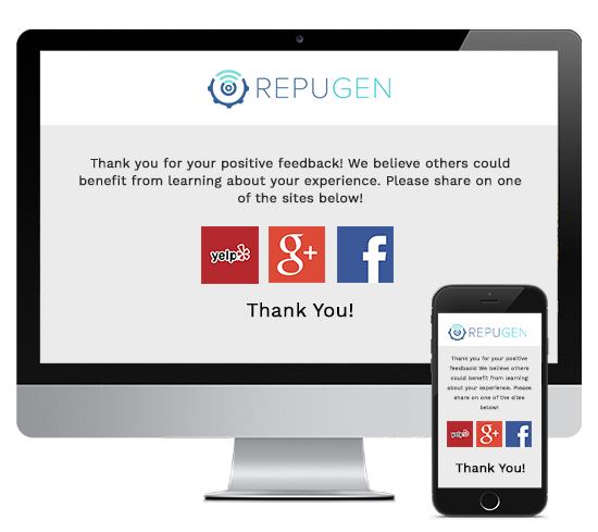 RepuGen Demo - Acknowledge positive reviews and collect reviews for your business