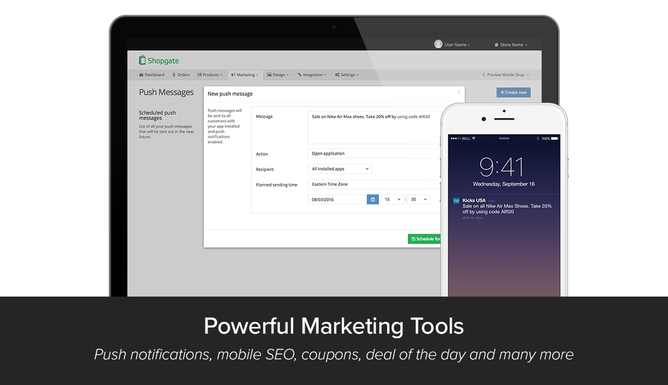 Shopgate Demo - Powerful marketing tools let you connect with users any time