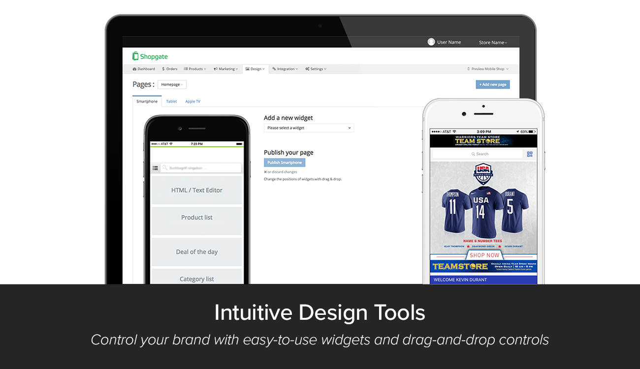 Shopgate Demo - Widgets let you easily customize your app using our easy-to-navigate dashboard
