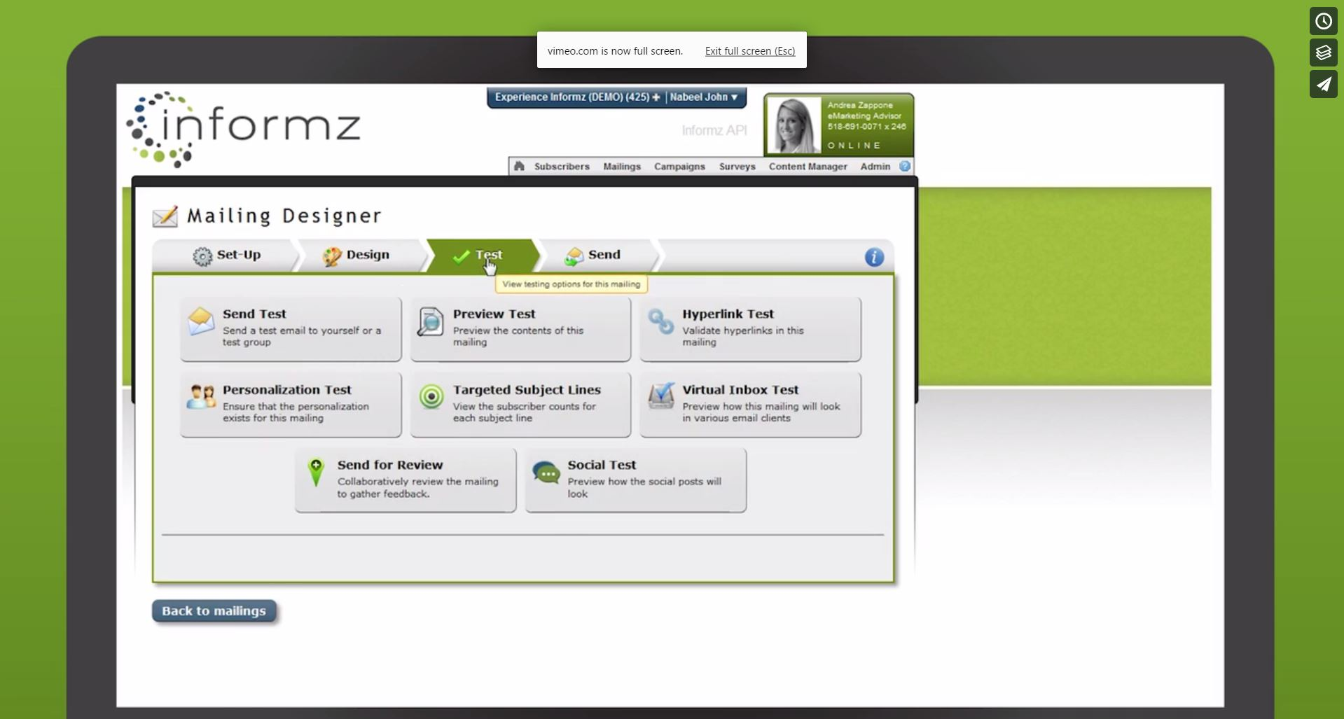 Higher Logic Marketing Automation Professional Demo - Informz Mailing Test