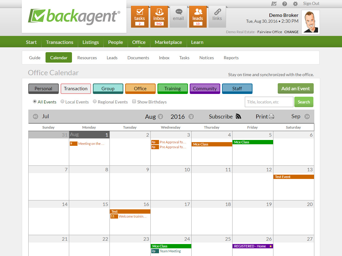 BackAgent Demo - Office Calendar w/ Event Registration & Resource Scheduling