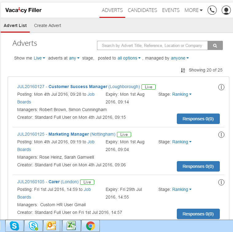 Vacancy Filler Demo - Adverts Page