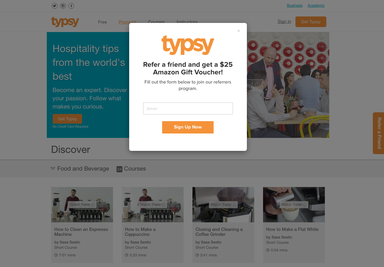 Ambassador Referral Marketing Demo - Typsy's Refer-a-Friend Widget