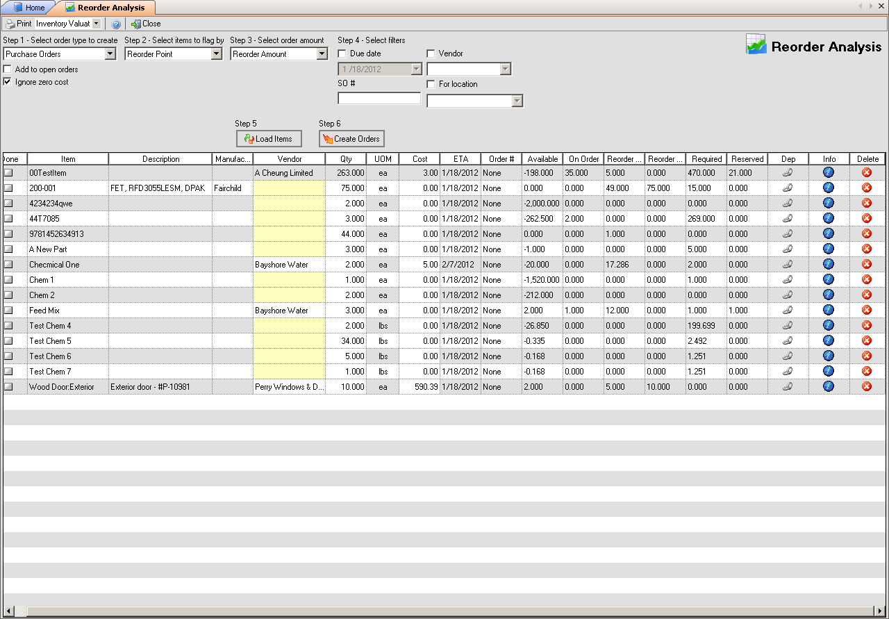 NumberCruncher Demo - Reorder Analysis