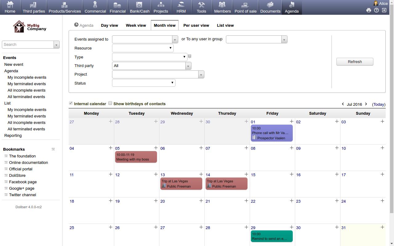 Dolibarr ERP CRM Demo - Calendar
