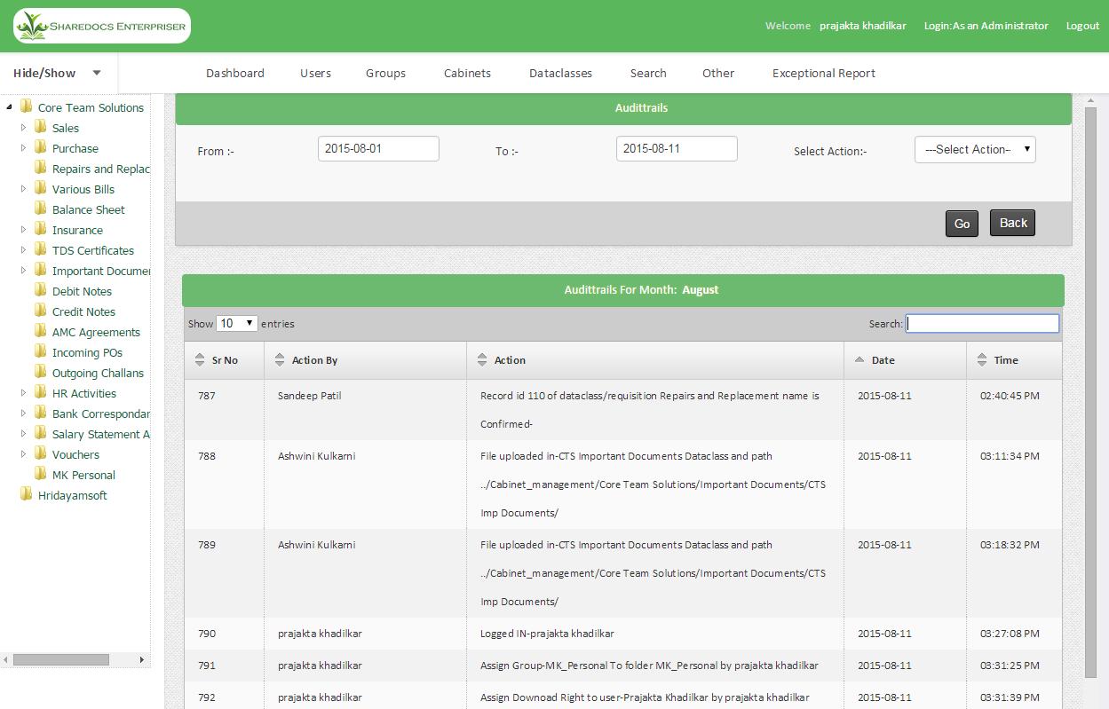 ShareDocs Enterpriser Demo - Audit Trail