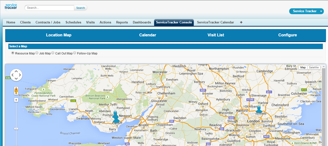 ServiceTracker Pest Control Software Demo - Location+Map+Console.png