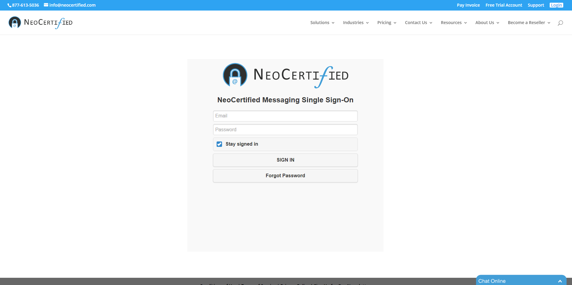 NeoCertified Secure Email Demo - NeoCertified Portal Login