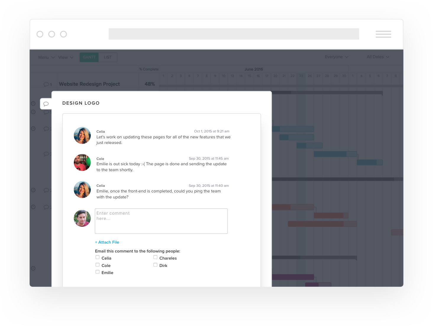TeamGantt Demo - Project Chat