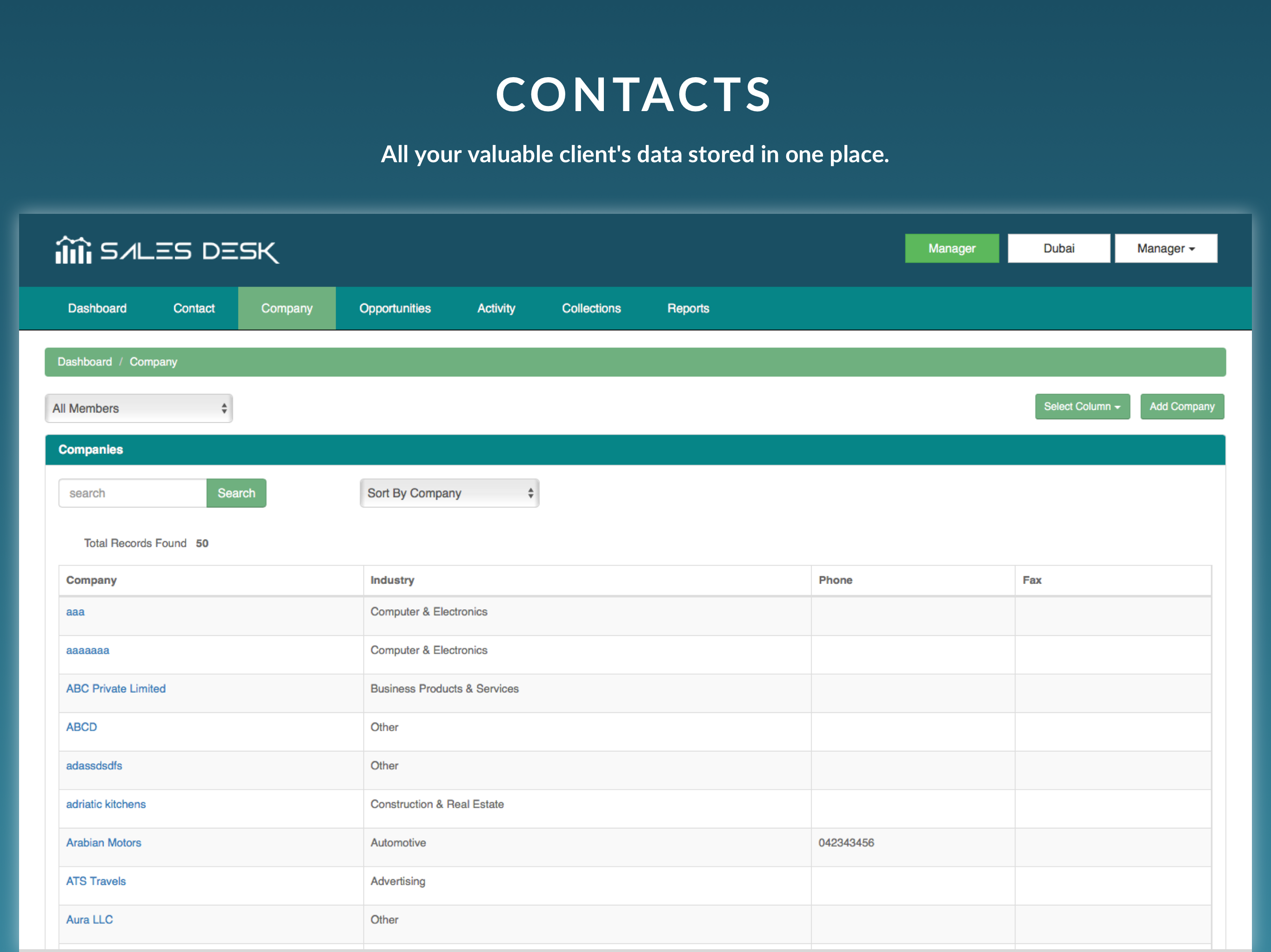SalesDesk Demo - Contacts