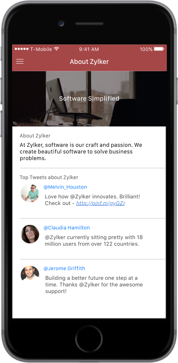 Zoho AppCreator Demo - About your app section