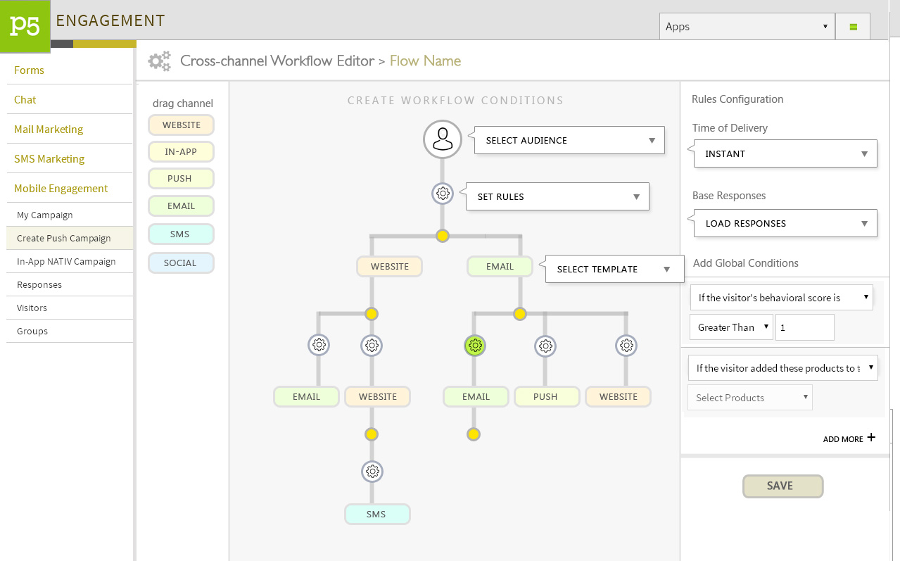 Plumb5 Demo - Cross Channel Engagement Workflows