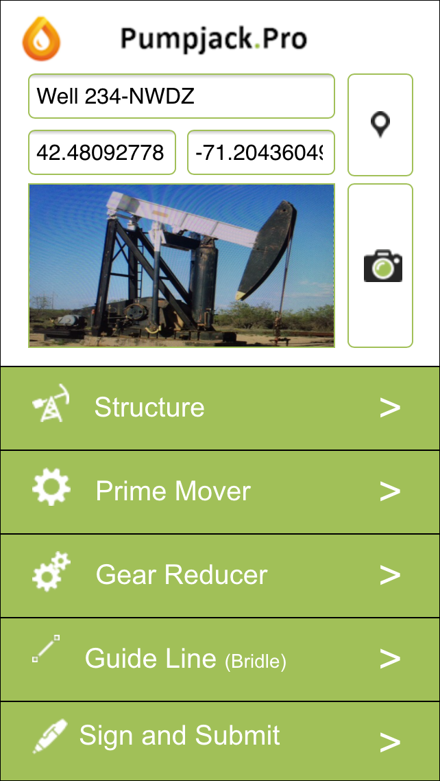 Alpha Anywhere Demo - Oil Industry Pumpjack Inspection App