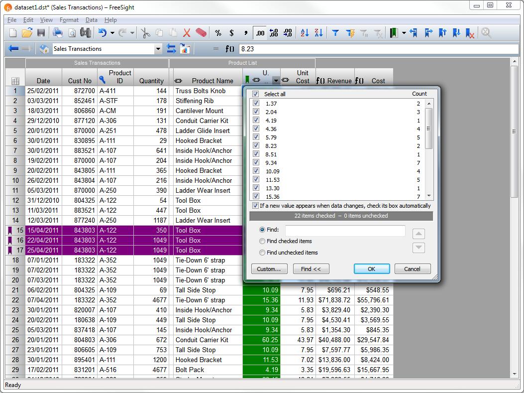 FreeSight Demo - Data Table