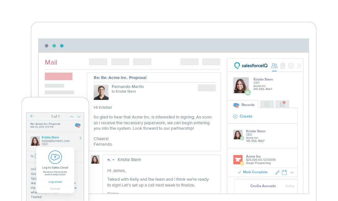 SalesforceIQ Inbox Demo - Inbox Screenshot