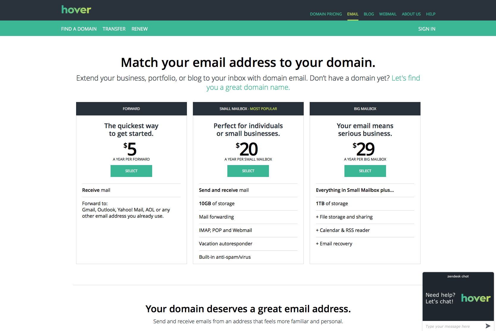 Hover Demo - Domain e-mail page
