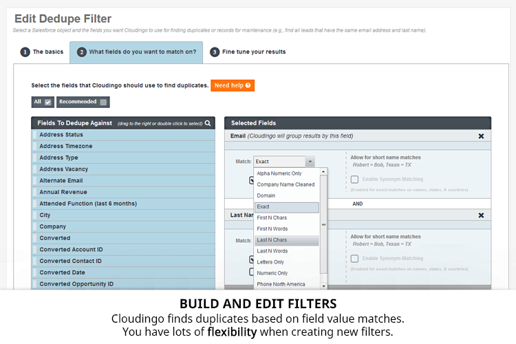 Cloudingo Demo - Cloudingo Filters - Start with prebuilt filters then create more with the drag-and-drop user interface.