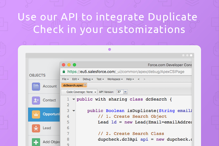 Duplicate Check for Salesforce Demo - Use our API to integrate