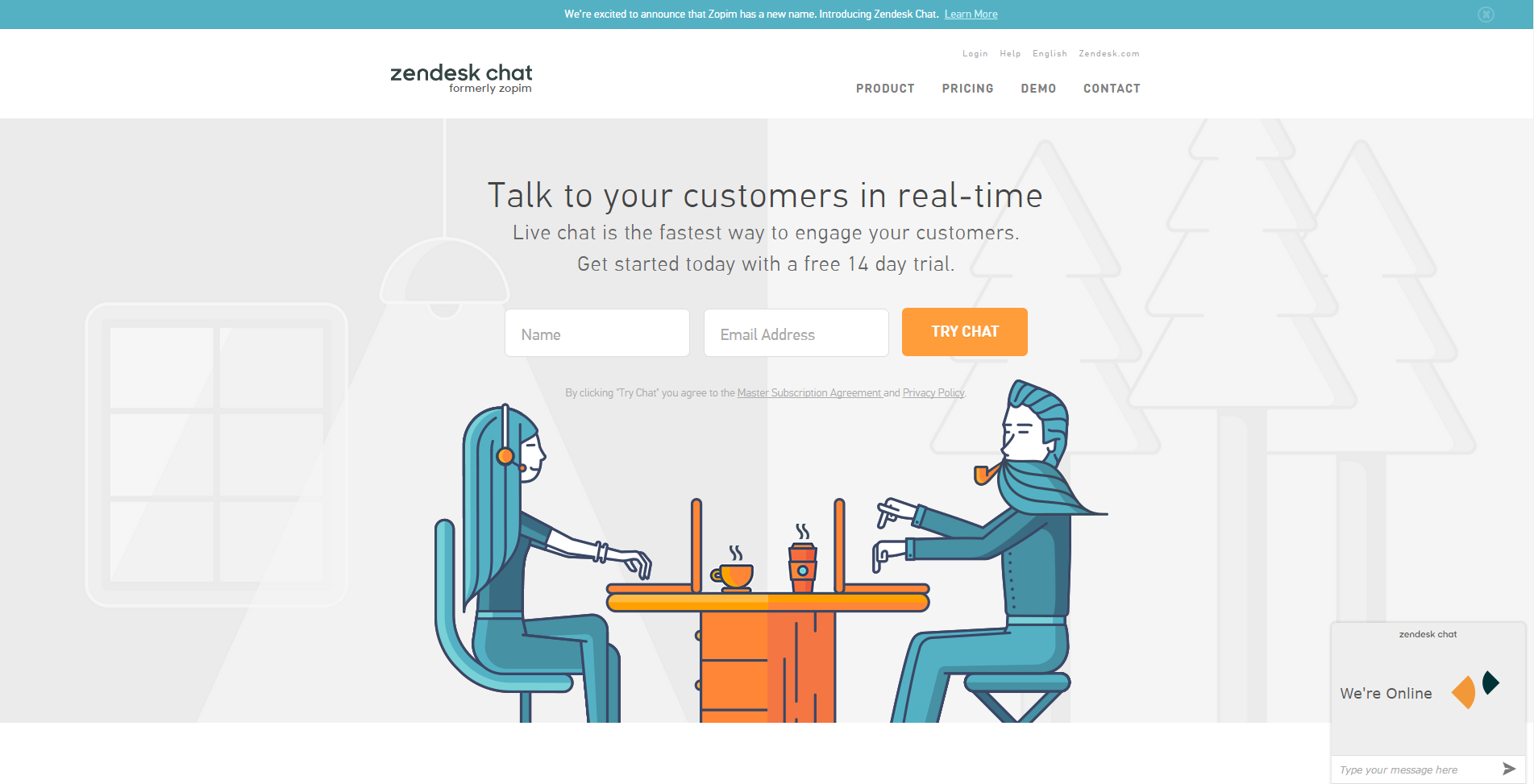 Zendesk Chat Demo - Zendesk Chat on the website