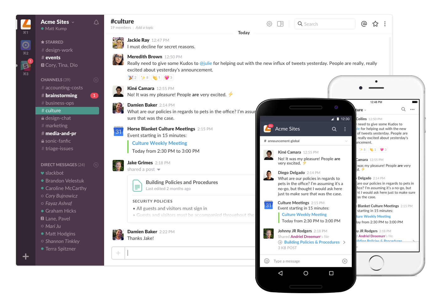 Slack Demo - Desktop + Mobile Apps