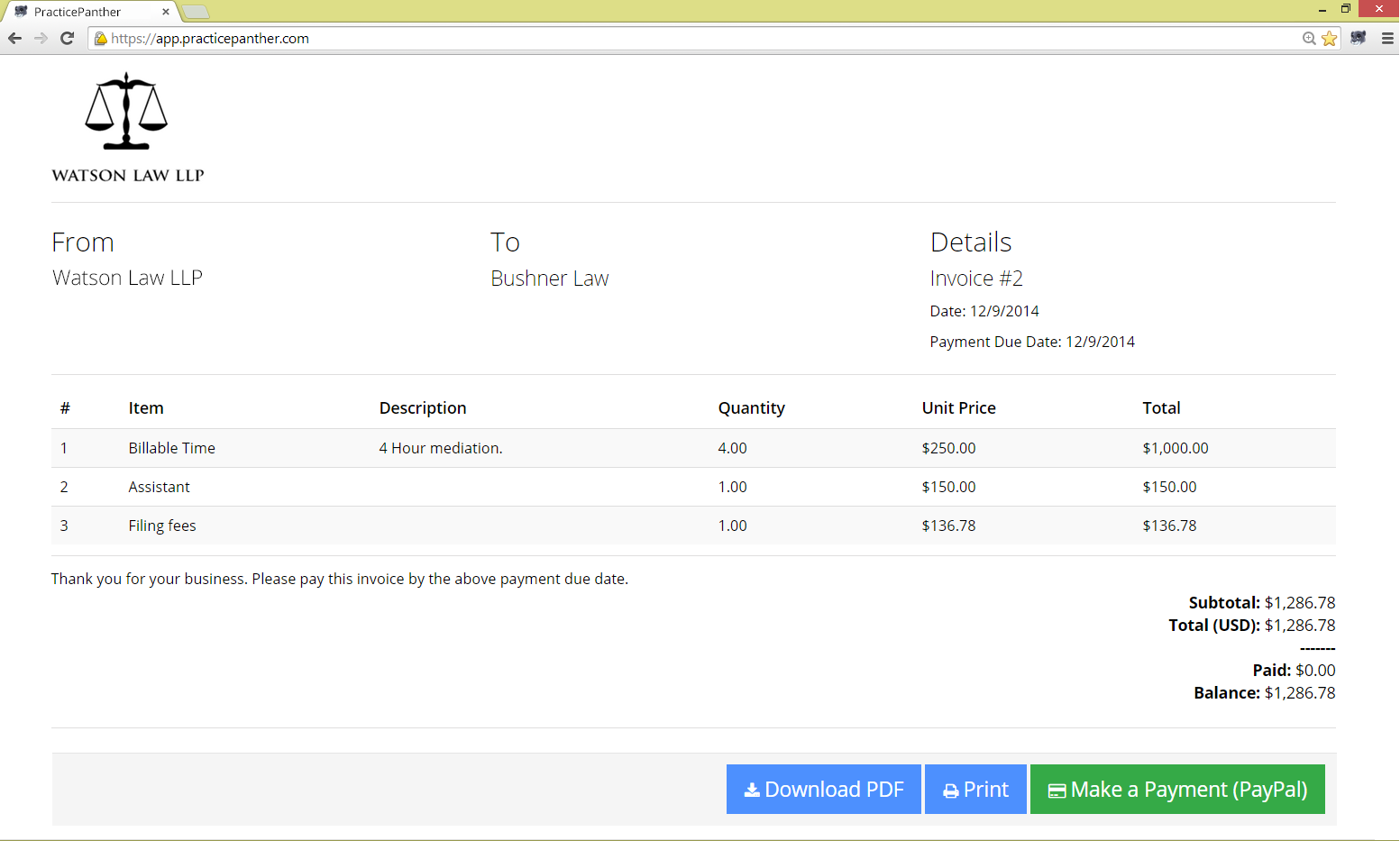 PracticePanther Demo - Invoicing