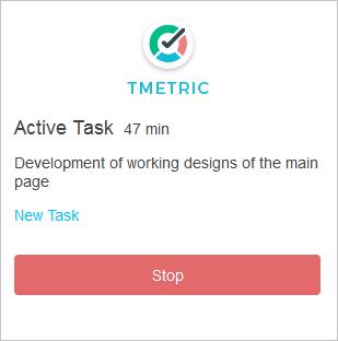 TMetric Demo - Chrome Extension Interface