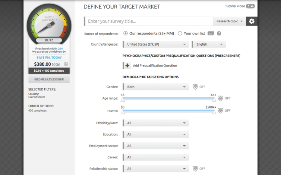 AYTM Demo - Define your target market
