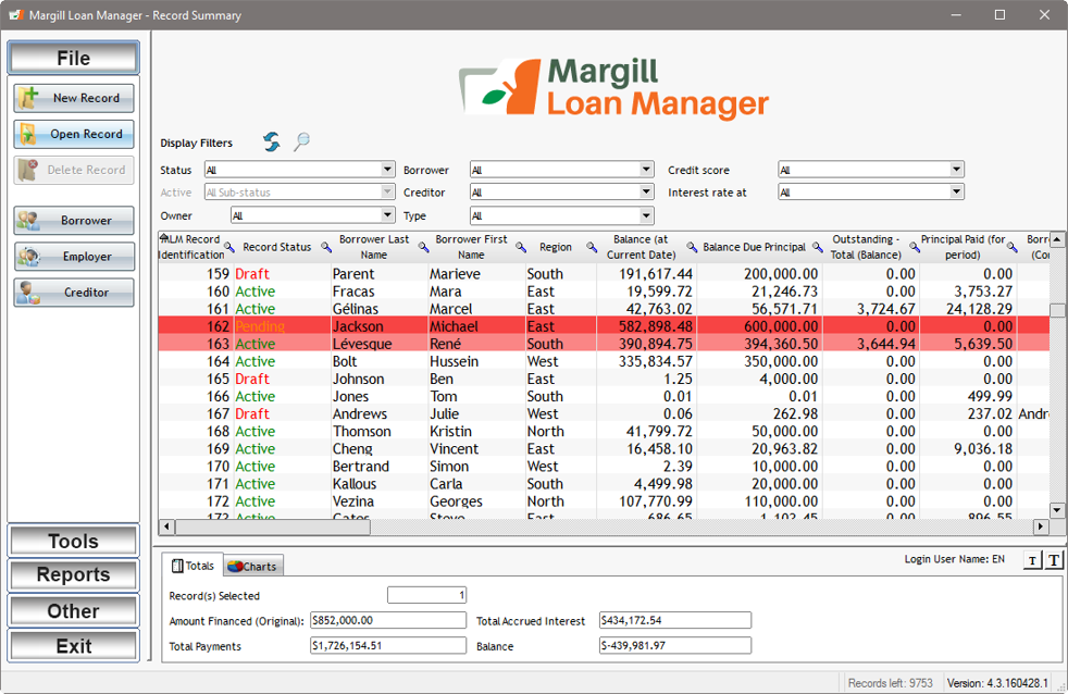 Margill Loan Manager Demo - Margill Loan Manager Main Window