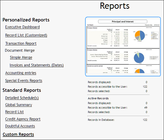 Margill Loan Manager Demo - Reports creation