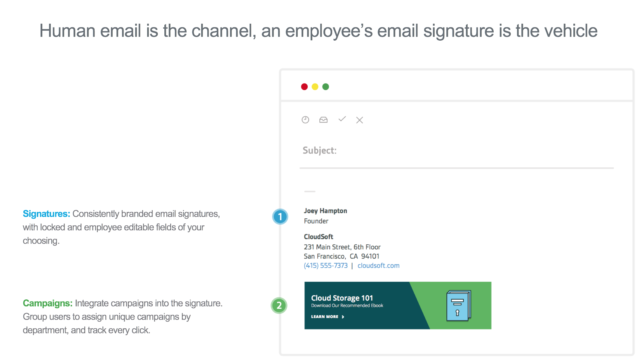 Sigstr Demo - Breakdown of Sigstr: Email signatures + Campaign banners