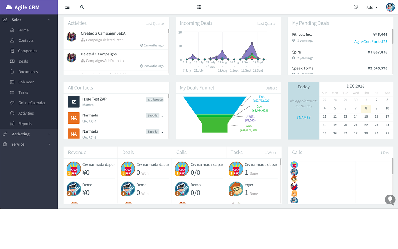 Agile CRM Demo - Sales Dashboard