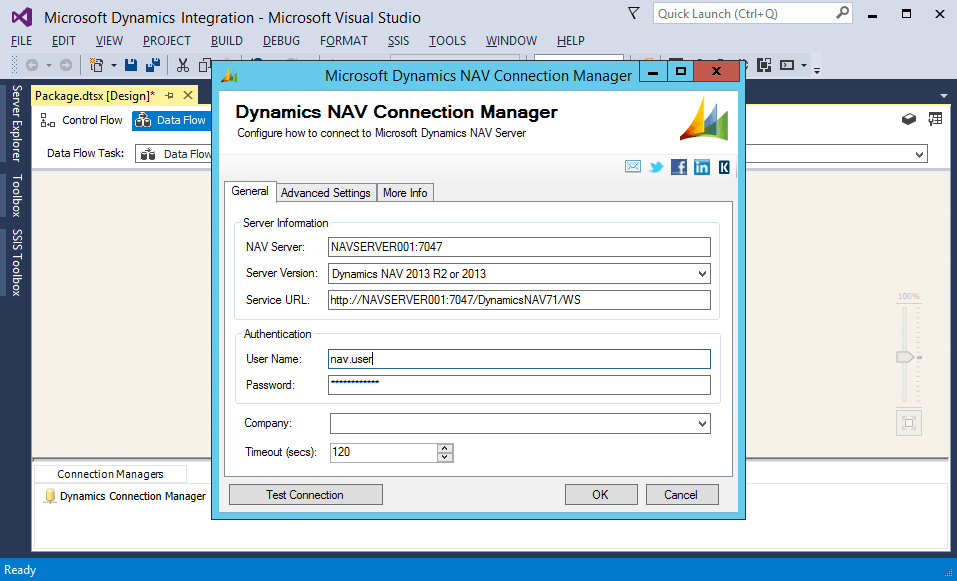 SSIS Integration Toolkit Demo - Microsoft Dynamics NAV Connection Manager