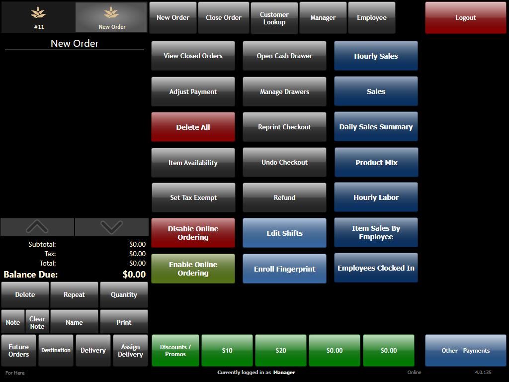 PAR Brink POS Software Demo - Manager Screen