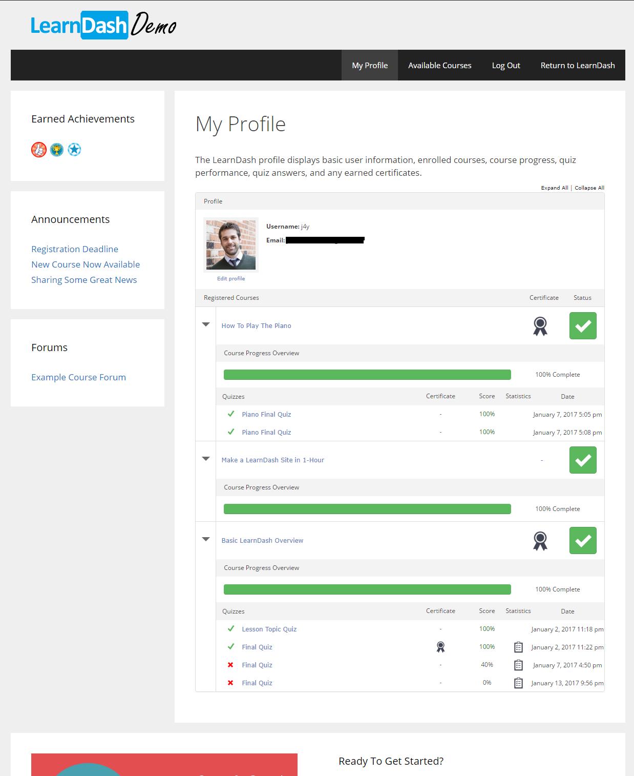 LearnDash Demo - Example Learner Profile