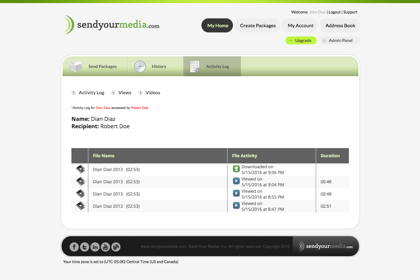 SendYourMedia Demo - Activity Log Views Details Video