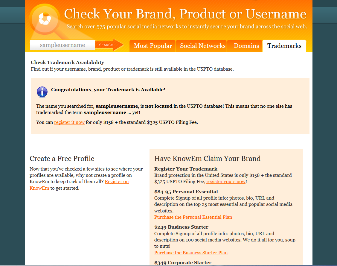 KnowEm Demo - KnowEm free trademark search