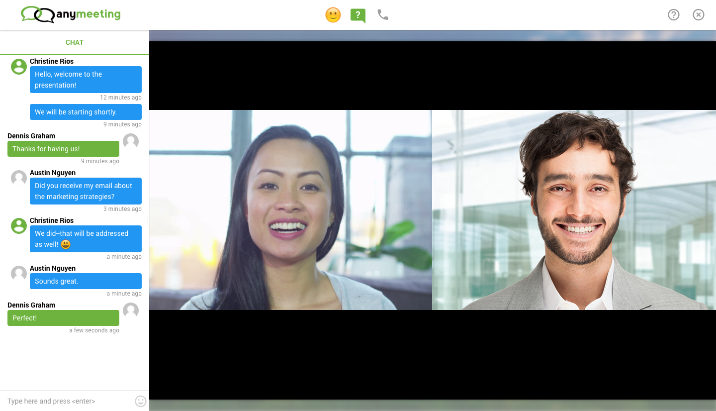 Anymeeting Video Conferencing Demo - Video Webinar with Chat