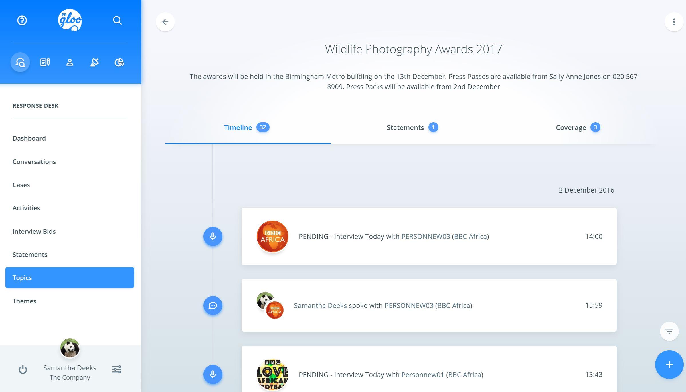 PRgloo Demo - PRgloo Timeline