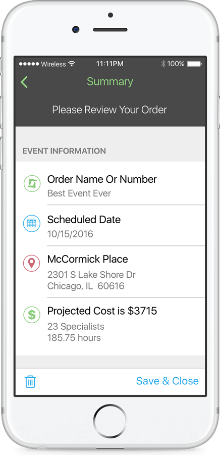 Shiftgig for Business Demo - Client App: Order Summary