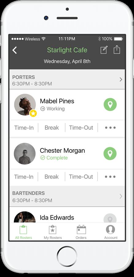 Shiftgig for Business Demo - Client App: Event Roster