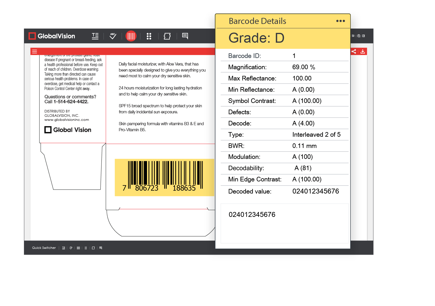 GlobalVision Demo - GlobalVision barcode inspection