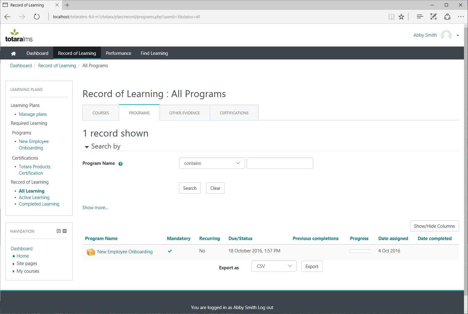 Totara Learn Demo - Record of Learning